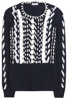 Altuzarra Bactra Leather-trimmed Alpaca And Wool Sweater
