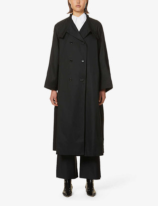Gabriela Coll G High-neck dropped-shoulder cotton trench coat