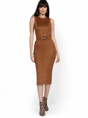 New York & Co. Suede-Front Sleeveless Sweater Dress