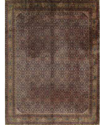 Sheridan Isabelline One-of-a-Kind Antique Geometric Agra Indian Hand-Knotted 10' 11'' x 13' 1 Wool Brown Derby/Pine Cone Area Rug Isabelline