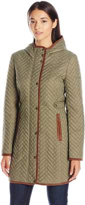 Larry Levine Women's Hooded Quilt with Faux Suede Trim Detail