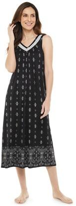Croft & Barrow Women's Lace-Trim Long Nightgown