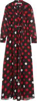 McQ by Alexander McQueen Pussy-bow polka-dot chiffon maxi dress
