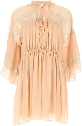 Chloé Lace Panelled Ruffle Dress