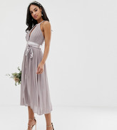 TFNC pleated midi bridesmaid dress with cross back and bow detail in gray