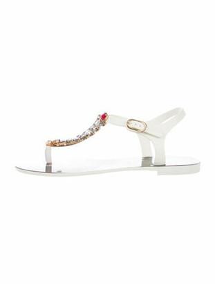 Dolce & Gabbana Rubber Crystal Embellishments T-Strap Sandals White