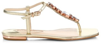 Sophia Webster Ritzy Embellished Metallic Leather Thong Sandals