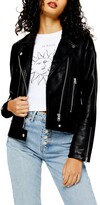 Topshop Teddy Faux Leather Biker Jacket