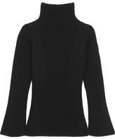 Moncler Maglione Ribbed Wool Turtleneck Sweater - Black