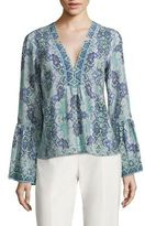 Nanette Lepore Dewdrop Bell Sleeve Silk Top