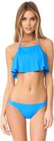 Milly Halter Ruffle Bikini Top