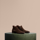 Burberry Washed-suede Chelsea Boots With Leather Soles , Size: 45.5, Brown