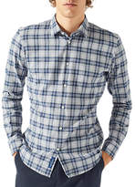 Jigsaw Italian Flannel Check Shirt, Flint Grey