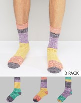 Asos Boot Socks With Color Block 3 Pack