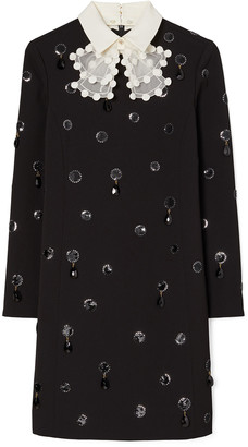 Tory Burch Jewel Embroidered Shift Dress w/ Removable Collar