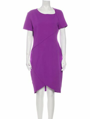 St. John Scoop Neck Knee-Length Dress Purple