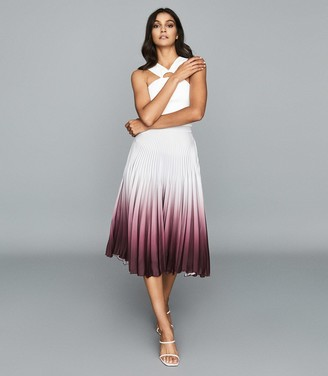 Reiss Marlie - Ombre Pleated Midi Skirt in Silver