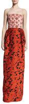 Oscar de la Renta Strapless Sequined-Bodice Column Gown, Guava/Multi
