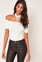 Missguided White Lace Up Choker Bardot Bodysuit
