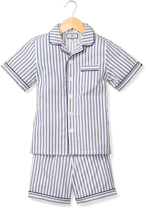 Petite Plume French Ticking Striped Pajama Set w/ Contrast Piping, Size 6M-14