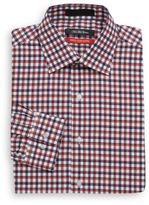 Saks Fifth Avenue Trim-Fit Satin-Weave Check Dress Shirt