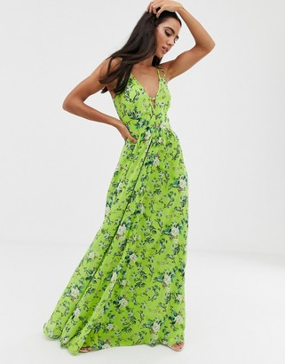 Asos Design DESIGN maxi dress with cami straps and cut out detail in summer floral print-Multi