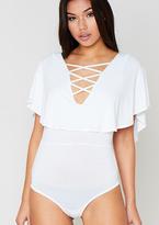 Missy Empire Vivi White Lace Up Cape Bodysuit