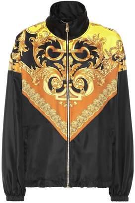 Versace Printed silk-satin track jacket