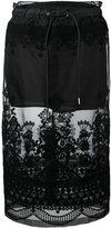 Sacai sheer panel embroidered skirt - women - Cotton/Polyester - 2