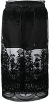Sacai sheer panel embroidered skirt - women - Polyester/Cotton - 3