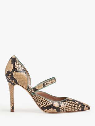 LK Bennett Florence Snake Print Leather Court Shoes