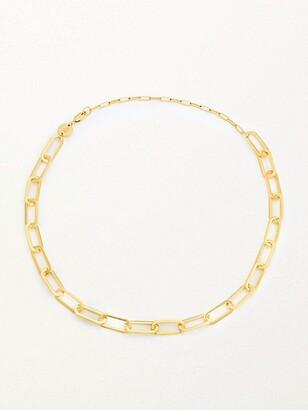 Jennifer Zeuner Jewelry Marta 18K Yellow Gold Vermeil Sterling Silver Chain-Link Necklace