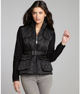 Vince Camuto black quilted woven faux-leather and wool-blend trimmed jacket