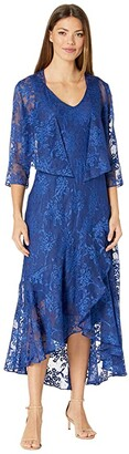 Alex Evenings Tea Length Printed Sleeveless with Matching Jacket (Royal) Women's Dress