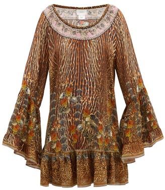 Camilla Leopard-print Silk-georgette Mini Dress - Leopard