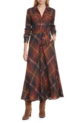 Polo Ralph Lauren Tartan Long Sleeve Wool Shirtdress