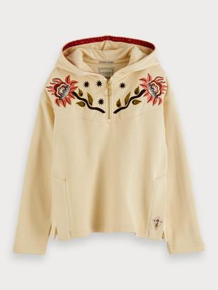 Scotch & Soda Embroidered boxy fit cotton hoodie | Girls