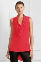 BCBGMAXAZRIA Cowl-Neck Side-Button Top