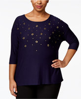 Belldini Plus Size Grommet-Front Top