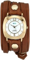 La Mer Women's LMODY1005 Layered Wraps Brown Washed Layered Odyssey Case Watch