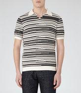 Reiss Reiss Metro - Blurred Stripe Polo Shirt In White