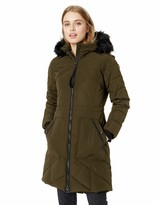 GUESS Womens Fashion Plaid Fit and Flare Double Breasted Wool Coat