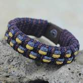 Artisan Crafted Recycled Bracelet for Men, 'Grey Ananse Web'