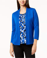 Alfred Dunner Petite Layered Look Cardigan Top