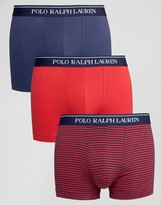 Polo Ralph Lauren 3 Pack Stretch Cotton Trunks With Stripe