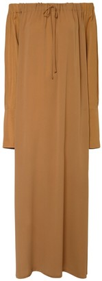 Max Mara Off-the-shoulder Pure Silk Long Dress