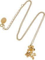 Alex Monroe 22-karat gold-plated diamond flower necklace