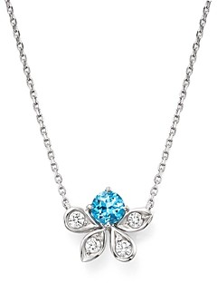 Bloomingdale's Diamond & Blue Topaz Leaf Pendant Necklace in 14K White Gold - 100% Exclusive