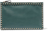 Valentino The Rockstud Leather Pouch - Forest green