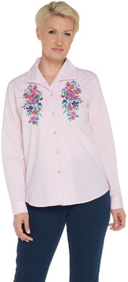 Linea by Louis Dell'Olio Embroidered Poplin Stripe Shirt